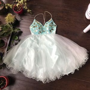 TEHRANI Couture blue beaded gorgeous dress